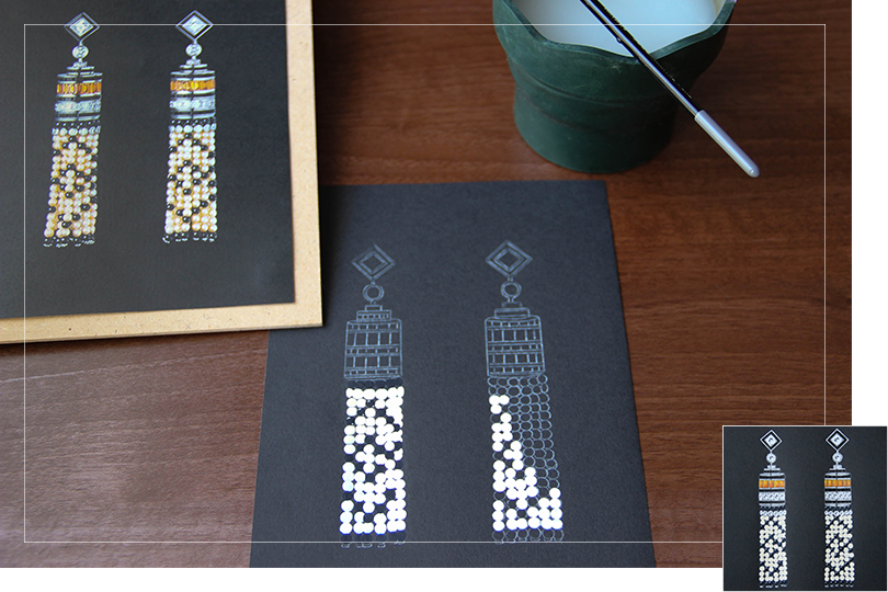 reproduction drawing jewelry painting cartier earring