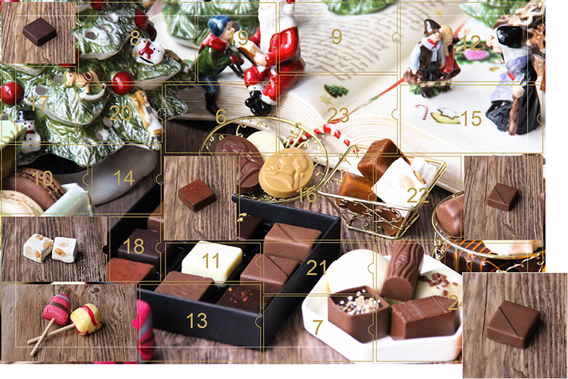 Picture of a mix of porcelain figurines representing a Christmas scenery, next to a Christmas porcelain tree and chocolates and nice treats. All divided in 24 advent calendar sections with the fifth section being a picture of a milk chocolate square bite with a dark line on top, on a dark wood table, as if the calendar has been opened.