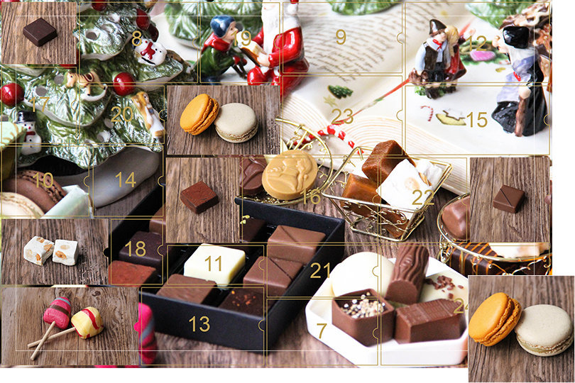Picture of a mix of porcelain figurines representing a Christmas scenery, next to a Christmas porcelain tree and chocolates and nice treats. All divided in 24 advent calendar sections that are uncovering what is inside each day. Section 6 is a picture of a two macarons, one orange and one white, on a dark wood table.