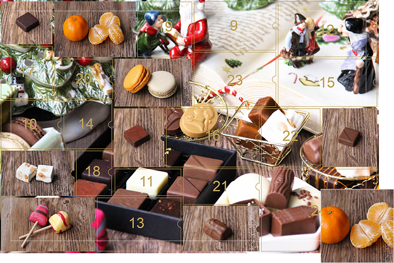 Picture of a mix of porcelain figurines representing a Christmas scenery, next to a Christmas porcelain tree and chocolates and nice treats. All divided in 24 advent calendar sections that are being uncovered each day. Section 8 is a picture of clementine next to clementine slices, on a dark wood table.
