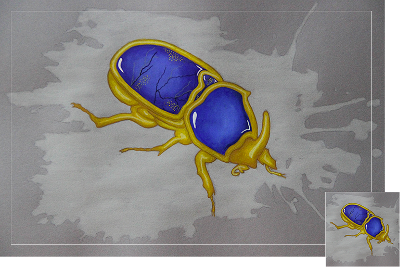 lapis lazuly golden beetle jewelry painting
