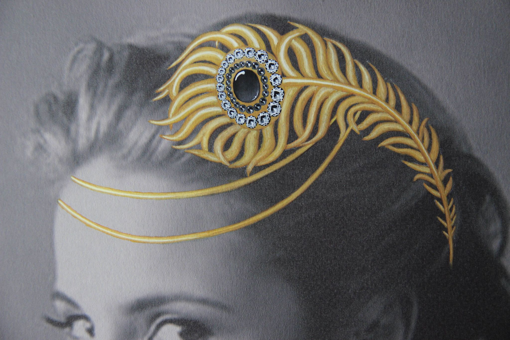 art drawing jewelry painting gold hair piece
