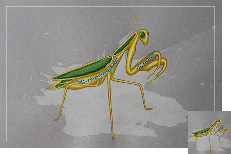 insect drawing jewelry painting emerauld golden praying mantis