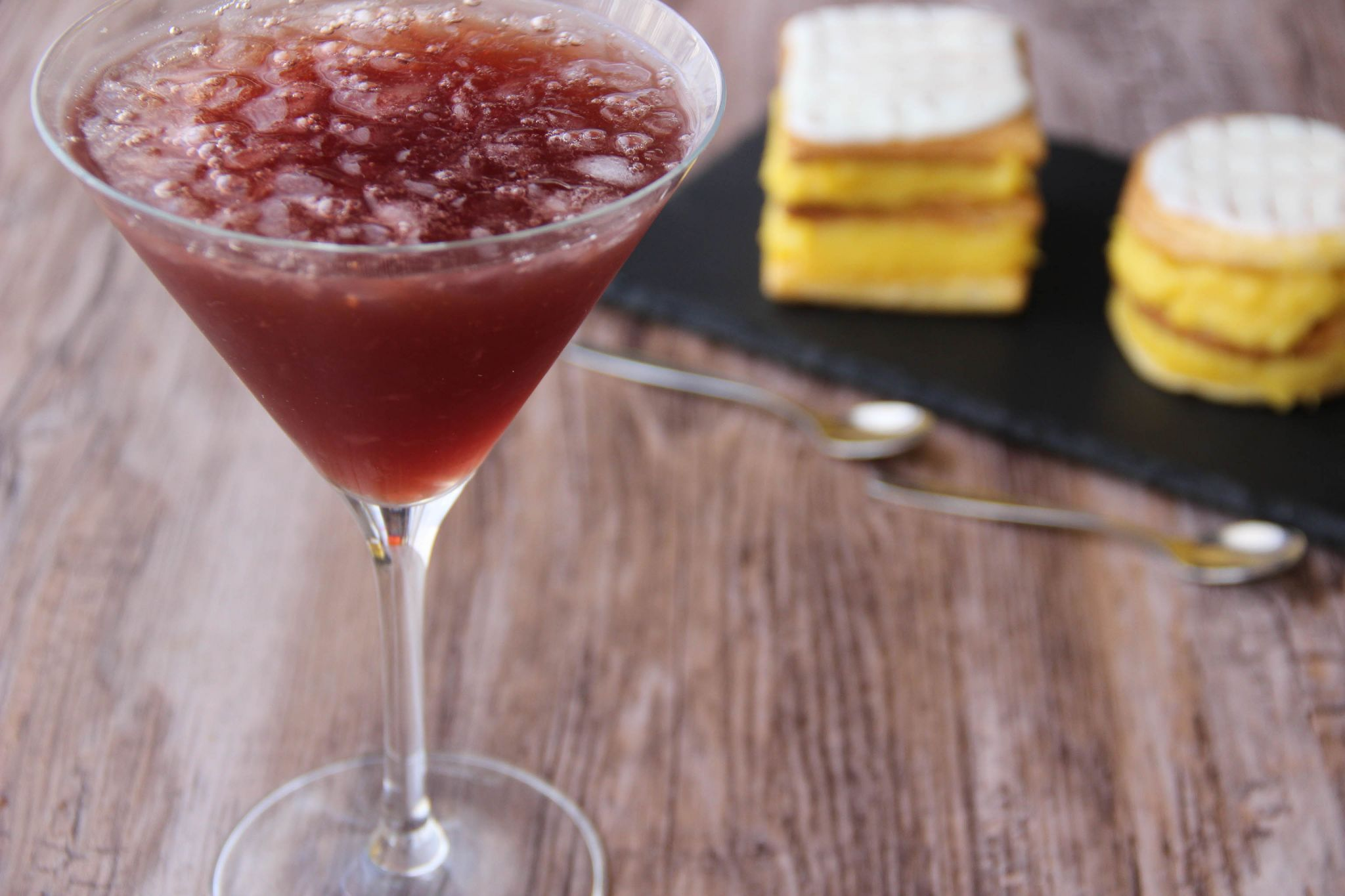 Showbiz cocktail and millefeuille napoleon cake