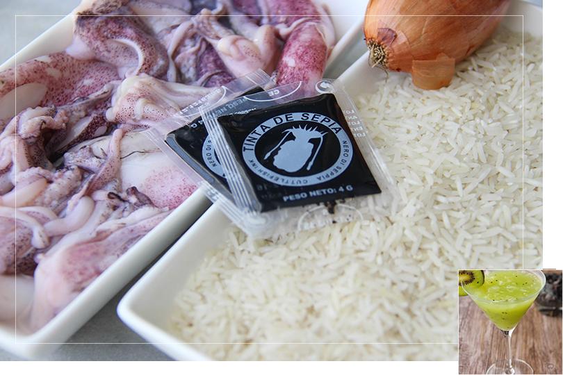 Black paella ingredients