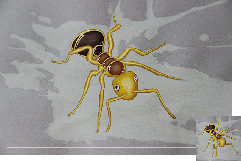 Quartz ant insect drawing jewelry painting