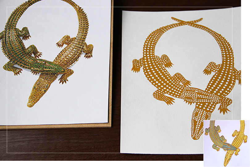 reproduction drawing jewelry painting cartier crocodile necklace