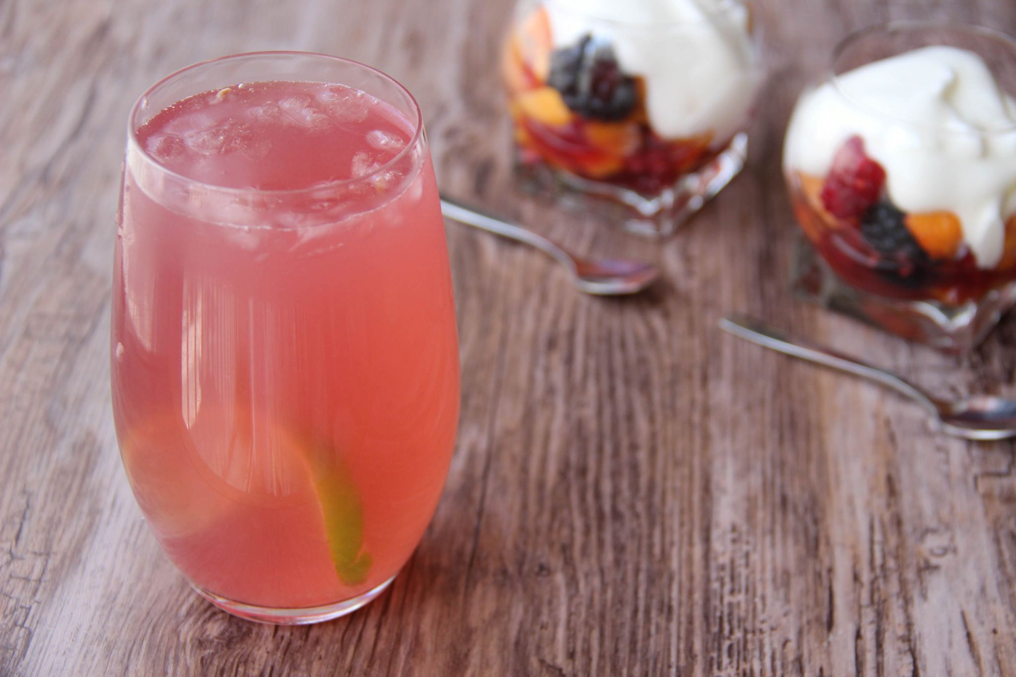 See breeze cocktail and fruit salad