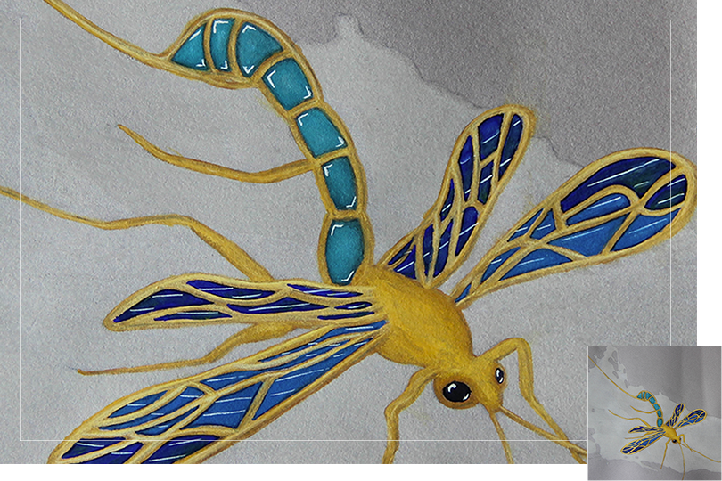 Sapphire topaze golden fly insect drawing jewelry painting