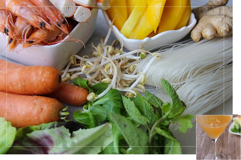 Mango shrimps springrolls ingredients