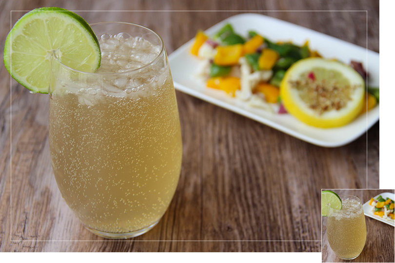 Ginger beer daiquiri cocktail and cod papillotes