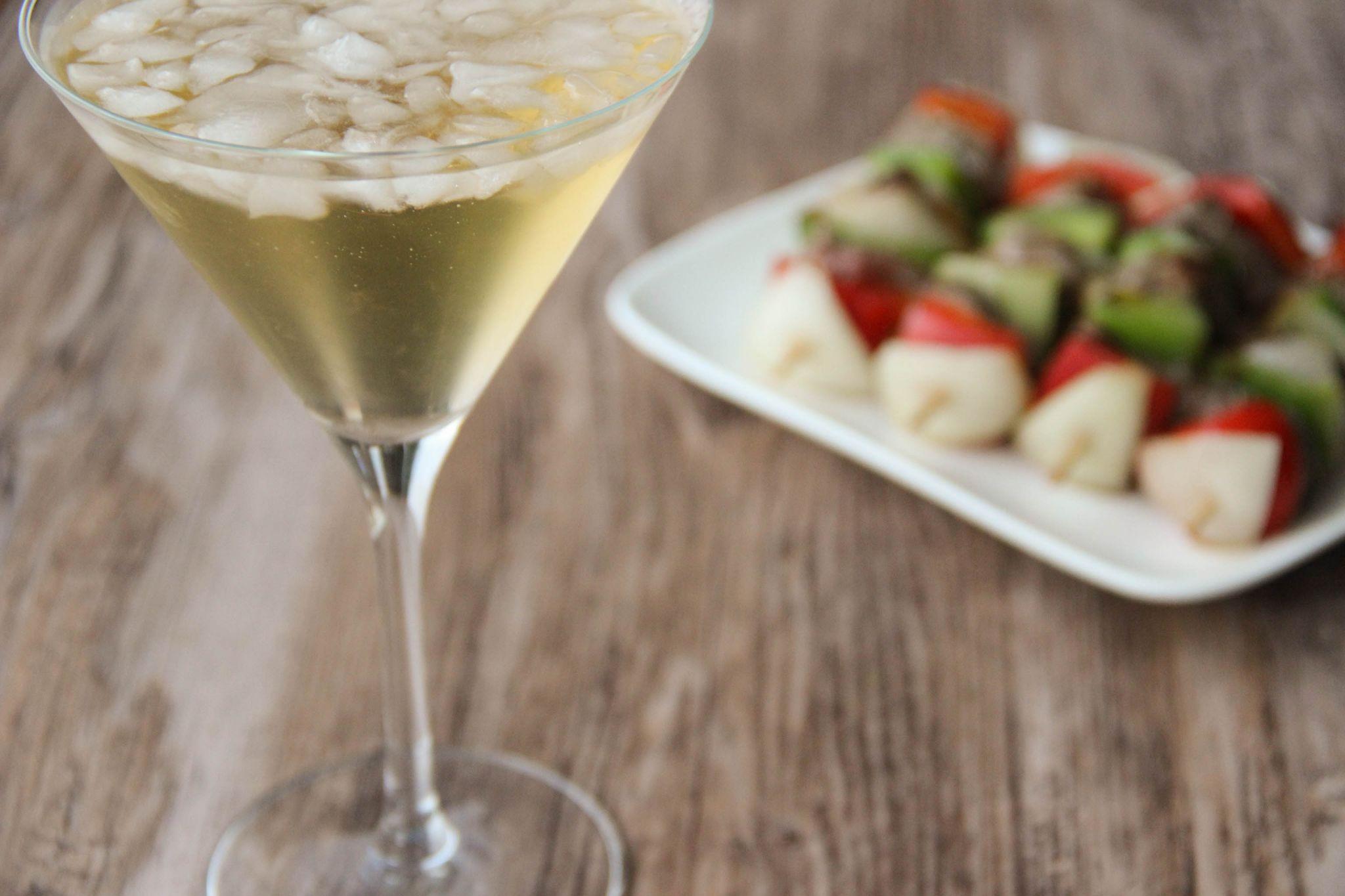Apple martini cocktail and rumsteack kebab