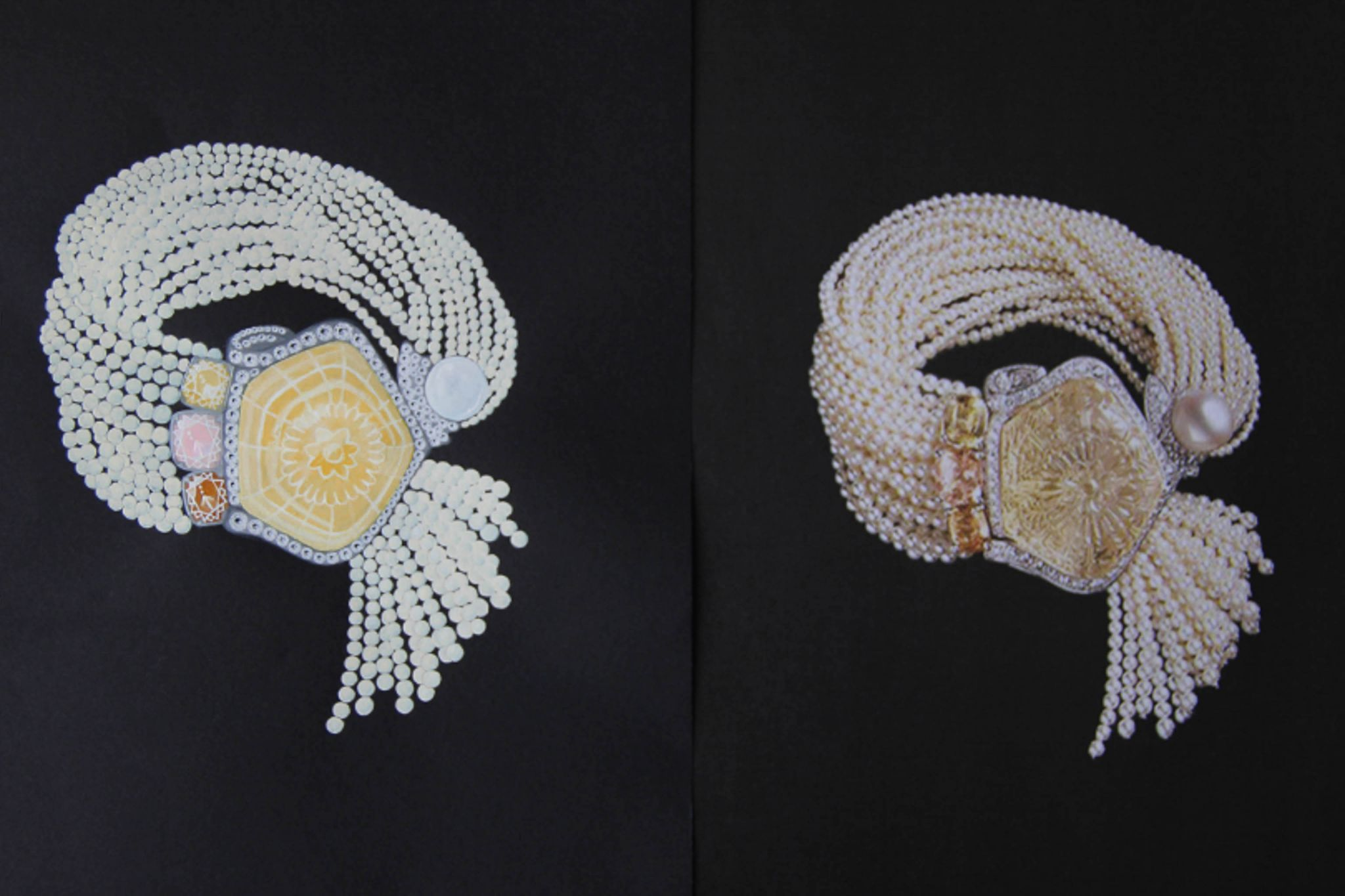 Shine & draw Jewelry drawing reproduction white pearl bracelet cartier