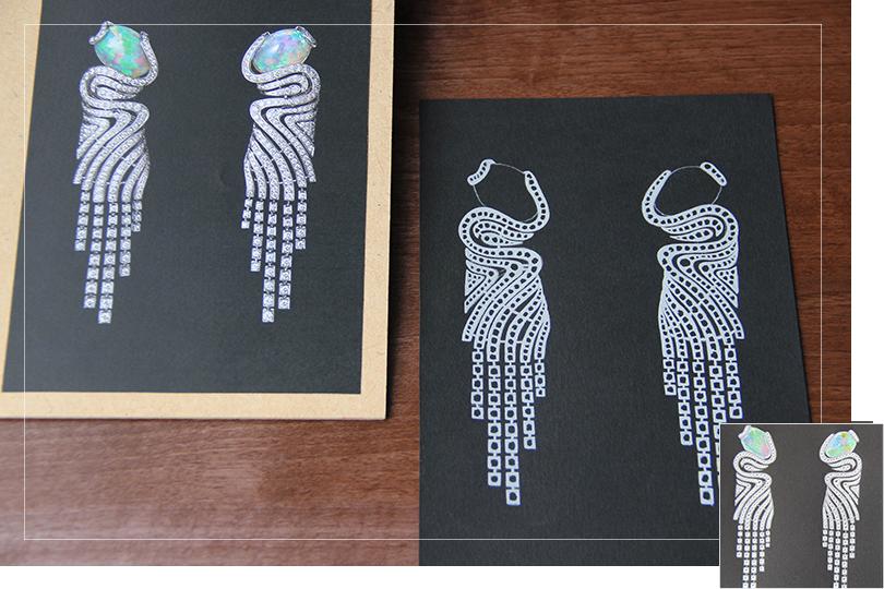 Shine & draw Jewelry drawing reproduction cartier opal earrings