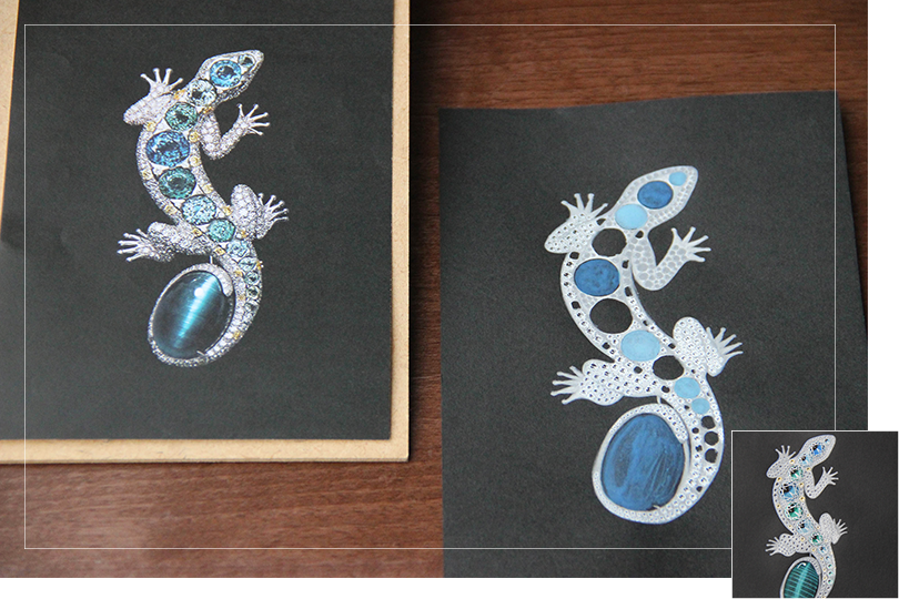 Shine & draw Jewelry drawing reproduction Cartier lizard brooch