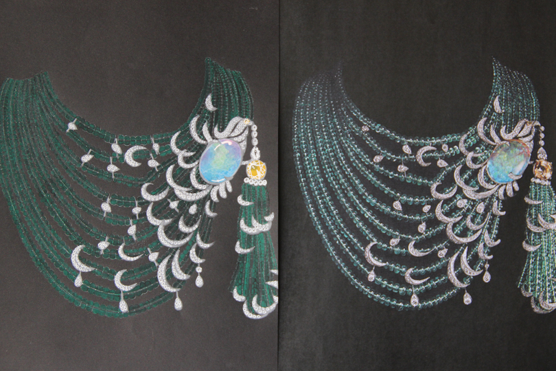 Shine & draw Jewelry drawing reproduction Cartier opal necklace