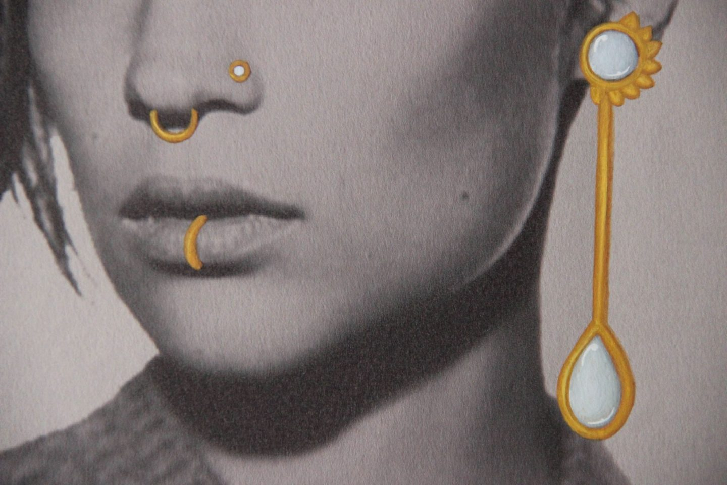 Shine & draw art jewelry mother of pearl earring