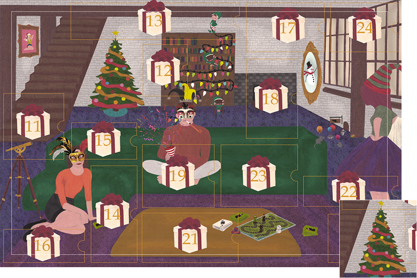Drawing of a living room with a dark blue carpet, a purple rug, a dark green sofa, grey stone walls and visible dark wood beams. All divided in 24 advent calendar sections. Section 10 is a decorated Christmas tree behind the sofa next to the shelves.