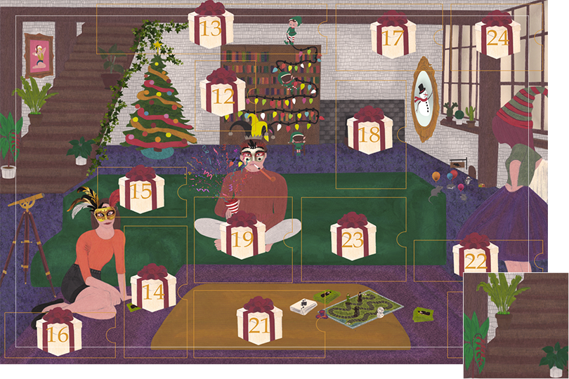 Drawing of a living room with a dark blue carpet, a purple rug, a dark green sofa, grey stone walls and visible dark wood beams. All divided in 24 advent calendar sections. Section 11 is a bunch of flower plants of different sizes, types and colours on the staircase.