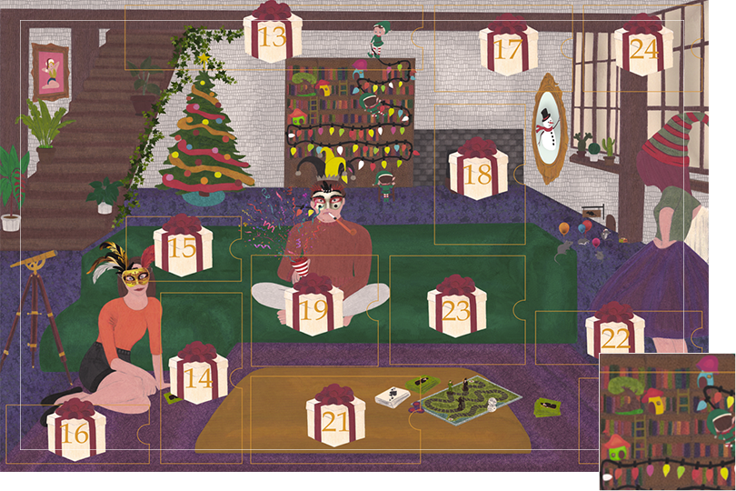 Drawing of a living room with a dark blue carpet, a purple rug, a dark green sofa, grey stone walls and visible dark wood beams. All divided in 24 advent calendar sections. Section 12 is tree and several bright colours mushroom houses with doors and windows on the shelves next to the elves.