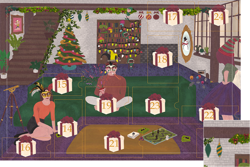 Drawing of a living room with a dark blue carpet, a purple rug, a dark green sofa, grey stone walls and visible dark wood beams. All divided in 24 advent calendar sections. Section 13 is different of Christmas ornaments in the drawing: holly garlands and baubles.