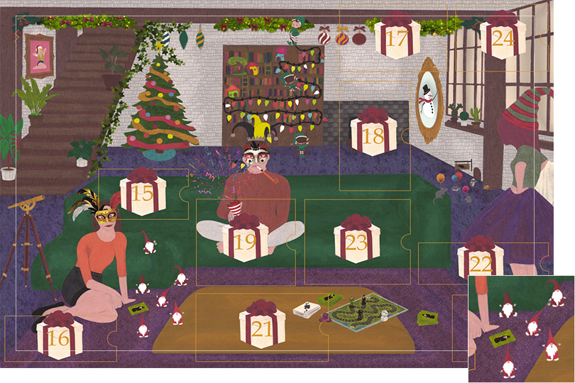 Drawing of a living room with a dark blue carpet, a purple rug, a dark green sofa, grey stone walls and visible dark wood beams. All divided in 24 advent calendar sections. Section 14 is a group of mischieving little santa claus.