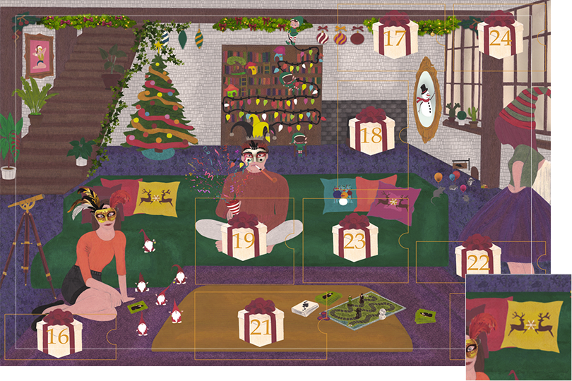 Drawing of a living room with a dark blue carpet, a purple rug, a dark green sofa, grey stone walls and visible dark wood beams. All divided in 24 advent calendar sections. Section 15 is a bunch of Christmas cushions in the dark green sofa.