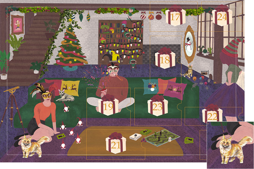 Drawing of a living room with a dark blue carpet, a purple rug, a dark green sofa, grey stone walls and visible dark wood beams. All divided in 24 advent calendar sections. Section 16 is 3 different cats looking cosy in the drawing.