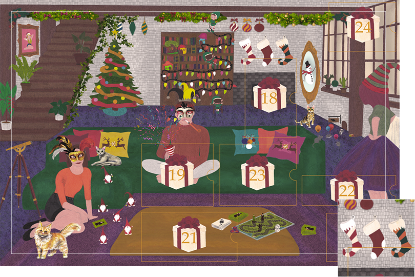 Drawing of a living room with a dark blue carpet, a purple rug, a dark green sofa, grey stone walls and visible dark wood beams. All divided in 24 advent calendar sections. Section 17 is three Christmas socks hanging over the chimney.