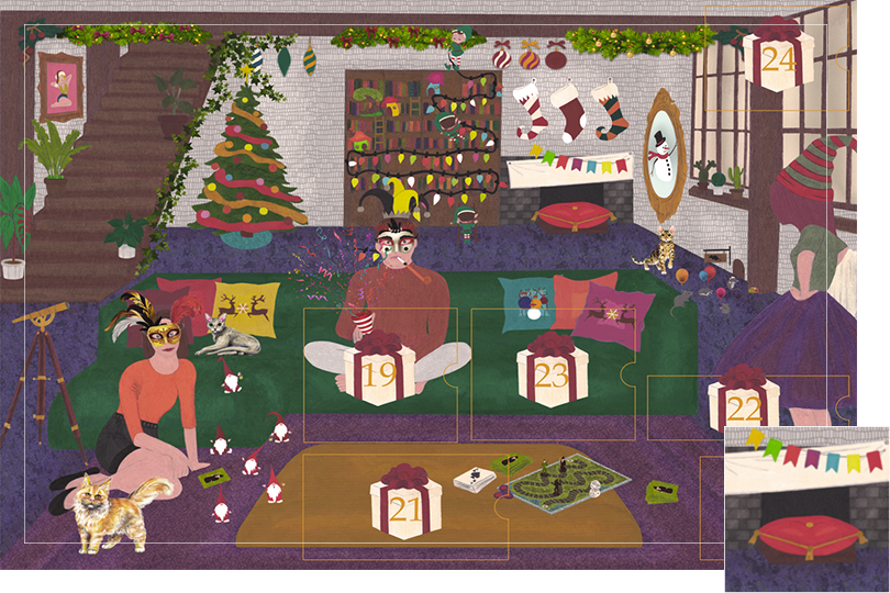 Drawing of a living room with a dark blue carpet, a purple rug, a dark green sofa, grey stone walls and visible dark wood beams. All divided in 24 advent calendar sections. Section 18 is a cushion and a banner next to the chimney to welcome Santa Claus' landing.