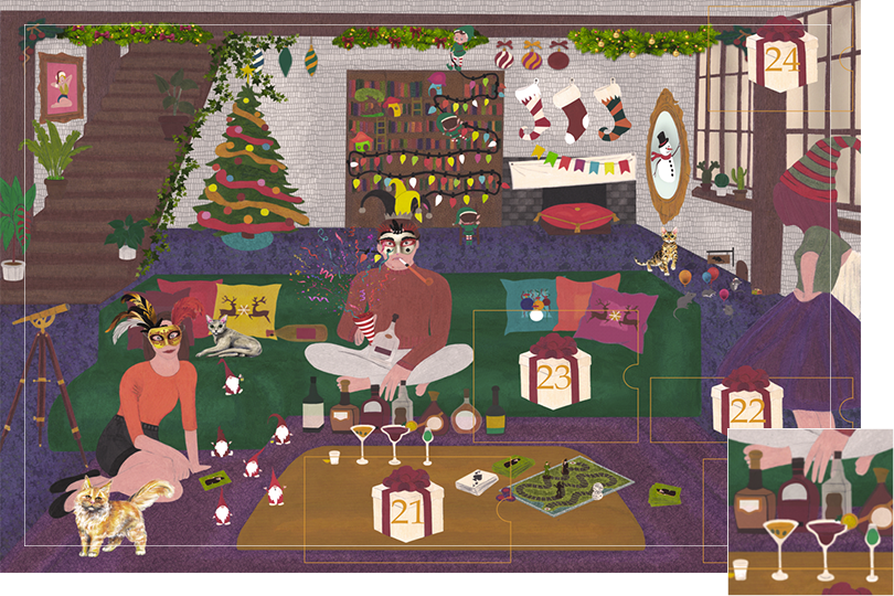 Drawing of a living room with a dark blue carpet, a purple rug, a dark green sofa, grey stone walls and visible dark wood beams. All divided in 24 advent calendar sections. Section 19 is several bottles, cocktails, glasses and drinks on the wooden table and on the floor.