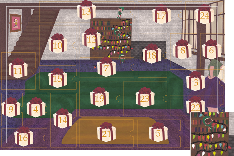 Drawing of a living room with a dark blue carpet, a purple rug, a dark green sofa, grey stone walls and visible dark wood beams. All divided in 24 advent calendar sections. Section 2 is three elves hanging a Christmas light garland on the library shelf.