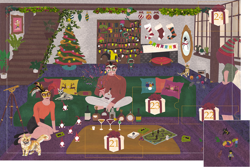 Drawing of a living room with a dark blue carpet, a purple rug, a dark green sofa, grey stone walls and visible dark wood beams. All divided in 24 advent calendar sections. Section 20 is different little toys on the rug.