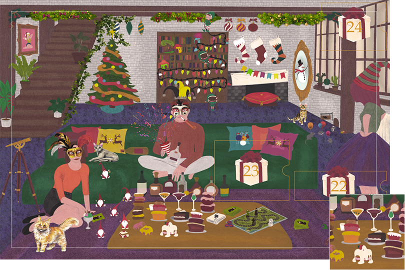 Drawing of a living room with a dark blue carpet, a purple rug, a dark green sofa, grey stone walls and visible dark wood beams. All divided in 24 advent calendar sections. Section 21 is a lot of tasty cakes and donughts on the wooden table next to the cocktails.