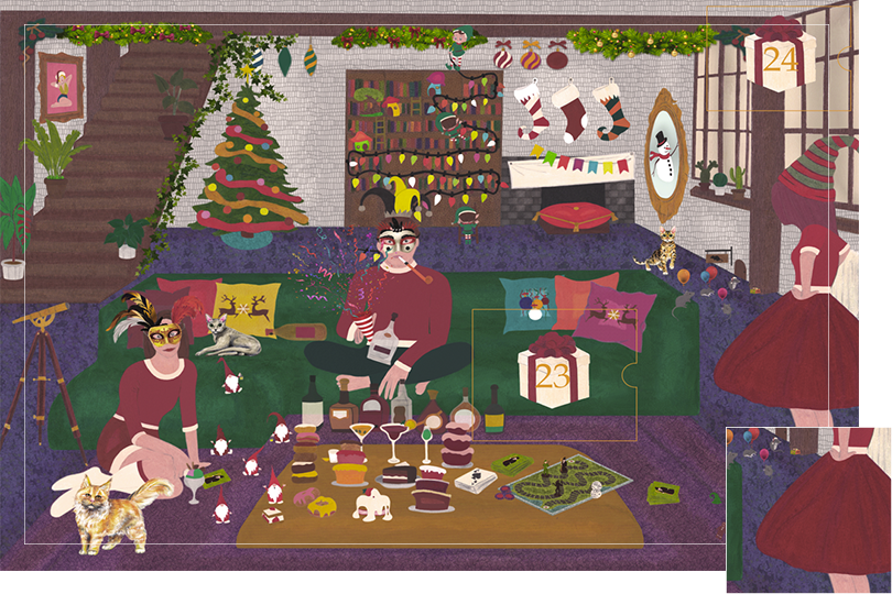Drawing of a living room with a dark blue carpet, a purple rug, a dark green sofa, grey stone walls and visible dark wood beams. All divided in 24 advent calendar sections. Section 22 is all the characters on the drawing, two girls and the boy being dressed in Christmas attire.