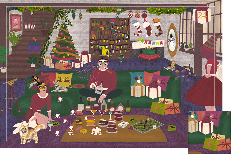 Drawing of a living room with a dark blue carpet, a purple rug, a dark green sofa, grey stone walls and visible dark wood beams. All divided in 24 advent calendar sections. Section 23 is wrapped gifts in bright colour wrapped papers all over the living room scene.