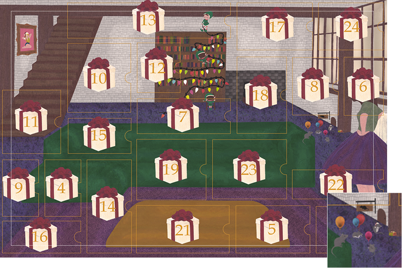 Drawing of a living room with a dark blue carpet, a purple rug, a dark green sofa, grey stone walls and visible dark wood beams. All divided in 24 advent calendar sections. Section 3 is a group of mice with balloons, Christmas attires and gifts, on the floor next to a very small mice wood door.