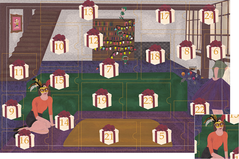 Drawing of a living room with a dark blue carpet, a purple rug, a dark green sofa, grey stone walls and visible dark wood beams. All divided in 24 advent calendar sections. Section 4 is a girl sitting on the floor next to the sofa with a festive masque.