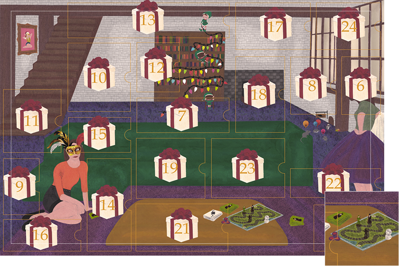 Drawing of a living room with a dark blue carpet, a purple rug, a dark green sofa, grey stone walls and visible dark wood beams. All divided in 24 advent calendar sections. Section 5 is a drawing of several boardgames and cards on the wooden table in front of the sofa.