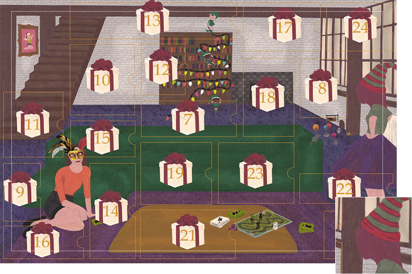 Drawing of a living room with a dark blue carpet, a purple rug, a dark green sofa, grey stone walls and visible dark wood beams. All divided in 24 advent calendar sections. Section 6 is a girl standing up next to the wooden table with pink hair and a red and green Christmas hat.