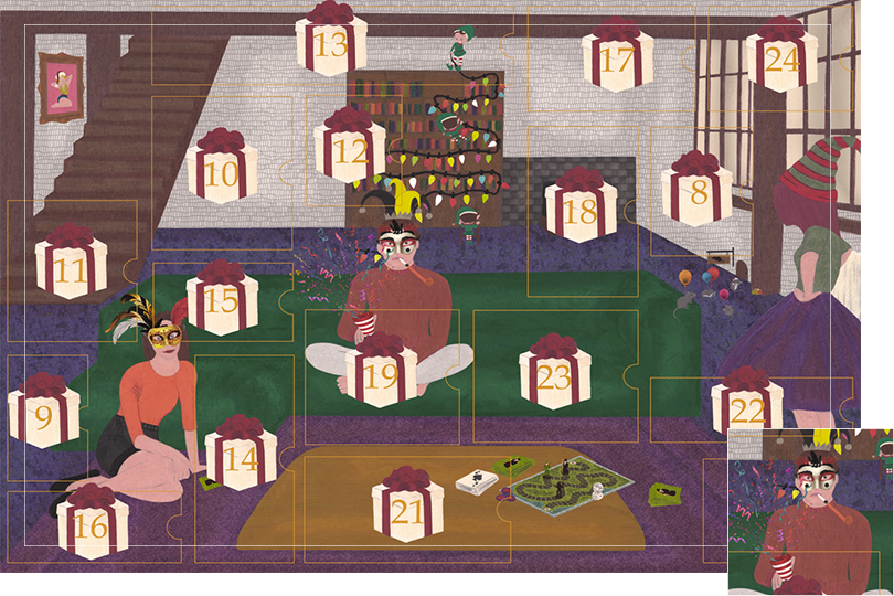 Drawing of a living room with a dark blue carpet, a purple rug, a dark green sofa, grey stone walls and visible dark wood beams. All divided in 24 advent calendar sections. Section 7 is a boy with a festive masque opening a party cracker.