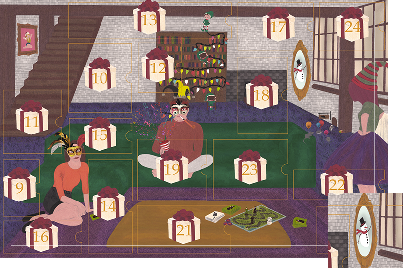 Drawing of a living room with a dark blue carpet, a purple rug, a dark green sofa, grey stone walls and visible dark wood beams. All divided in 24 advent calendar sections. Section 8 is a snowman with a floating red scarf and gentleman hat in a gold mirror.