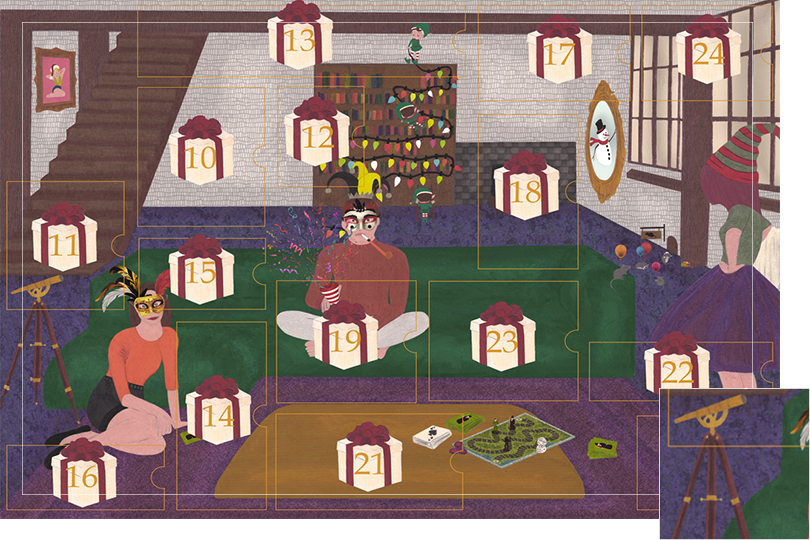 Drawing of a living room with a dark blue carpet, a purple rug, a dark green sofa, grey stone walls and visible dark wood beams. All divided in 24 advent calendar sections. Section 9 is telescope next to the sofa.