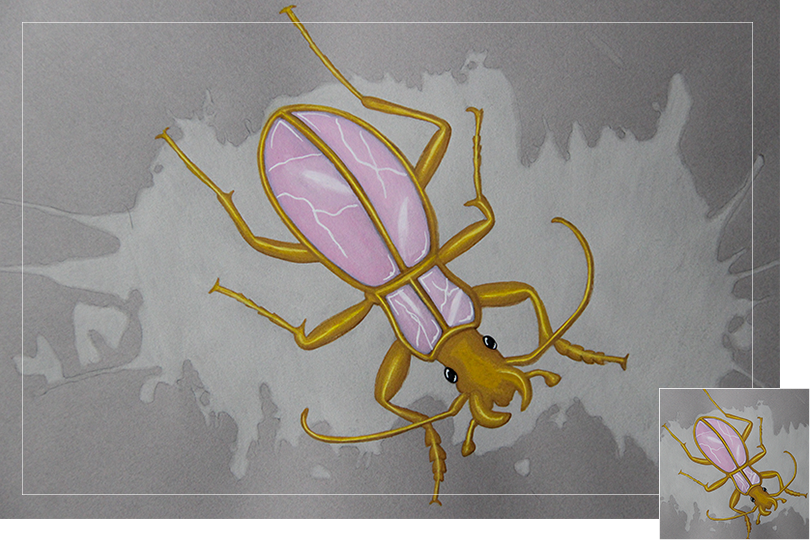 Pink quartz beetle insect drawing jewelry