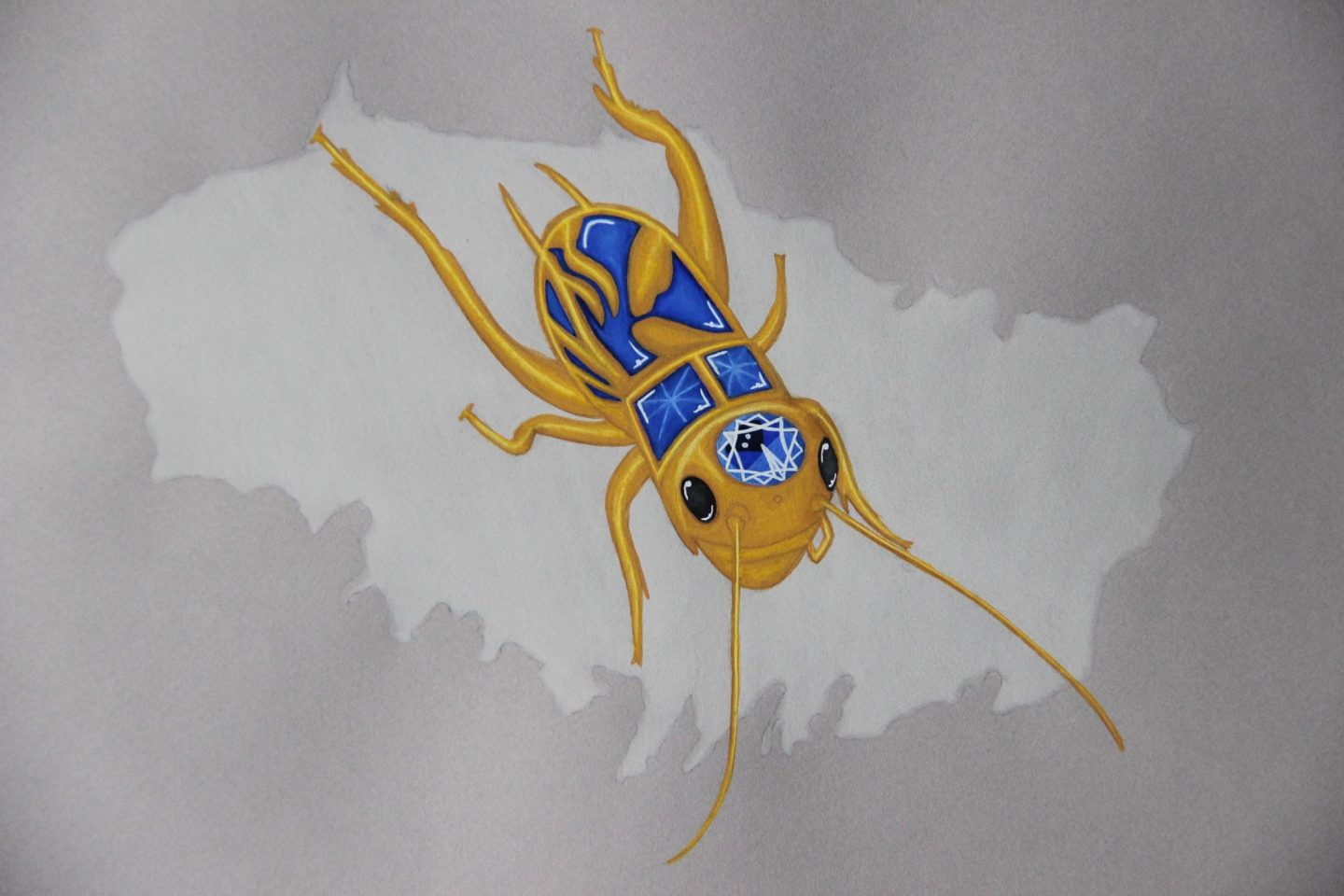 Sapphire golden cricket insect drawing jewelry