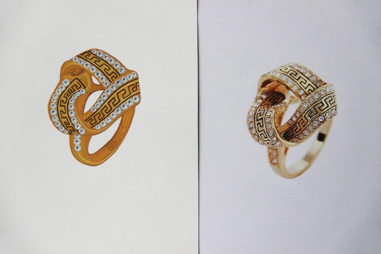 Shine & draw Jewelry drawing reproduction greek frieze ring