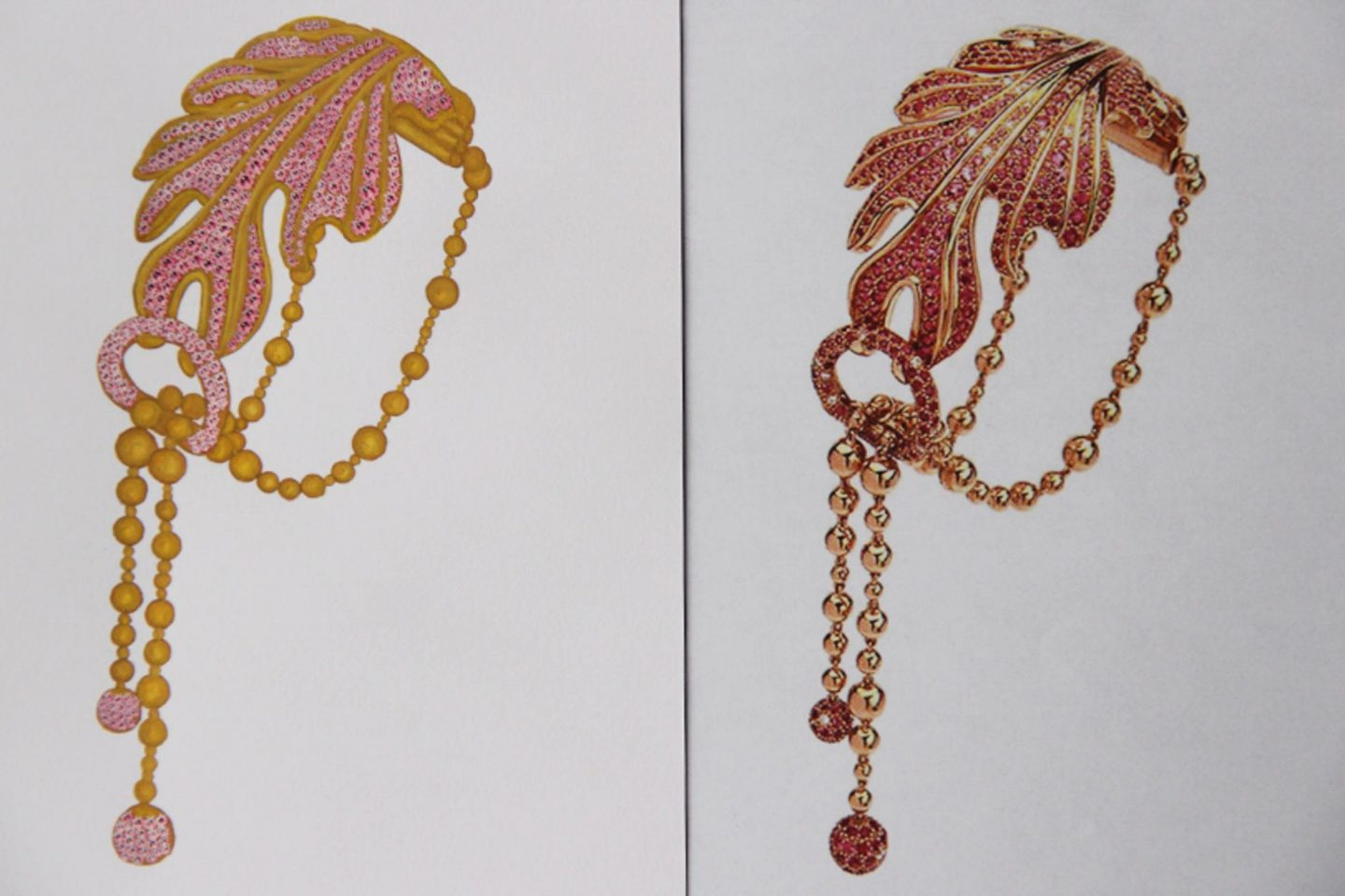 Shine & draw Jewelry drawing reproduction ruby leaf bracelet