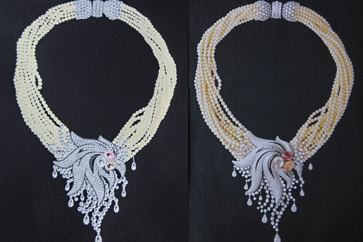 Shine & draw Jewelry drawing reproduction pearl diamonds sapphire star necklace