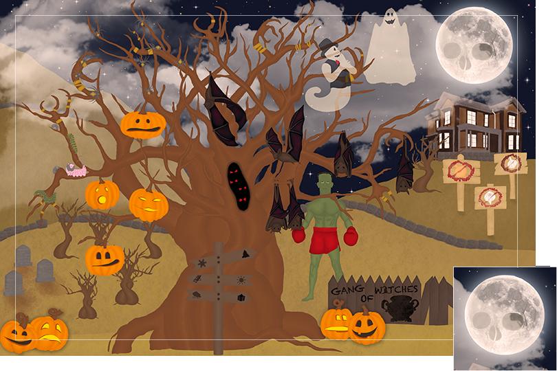 13 days of halloween celebrations undercovertoad jewelry Moon skull