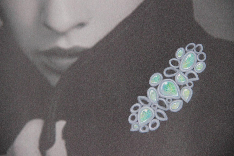Shine & draw art jewelry opal brooch